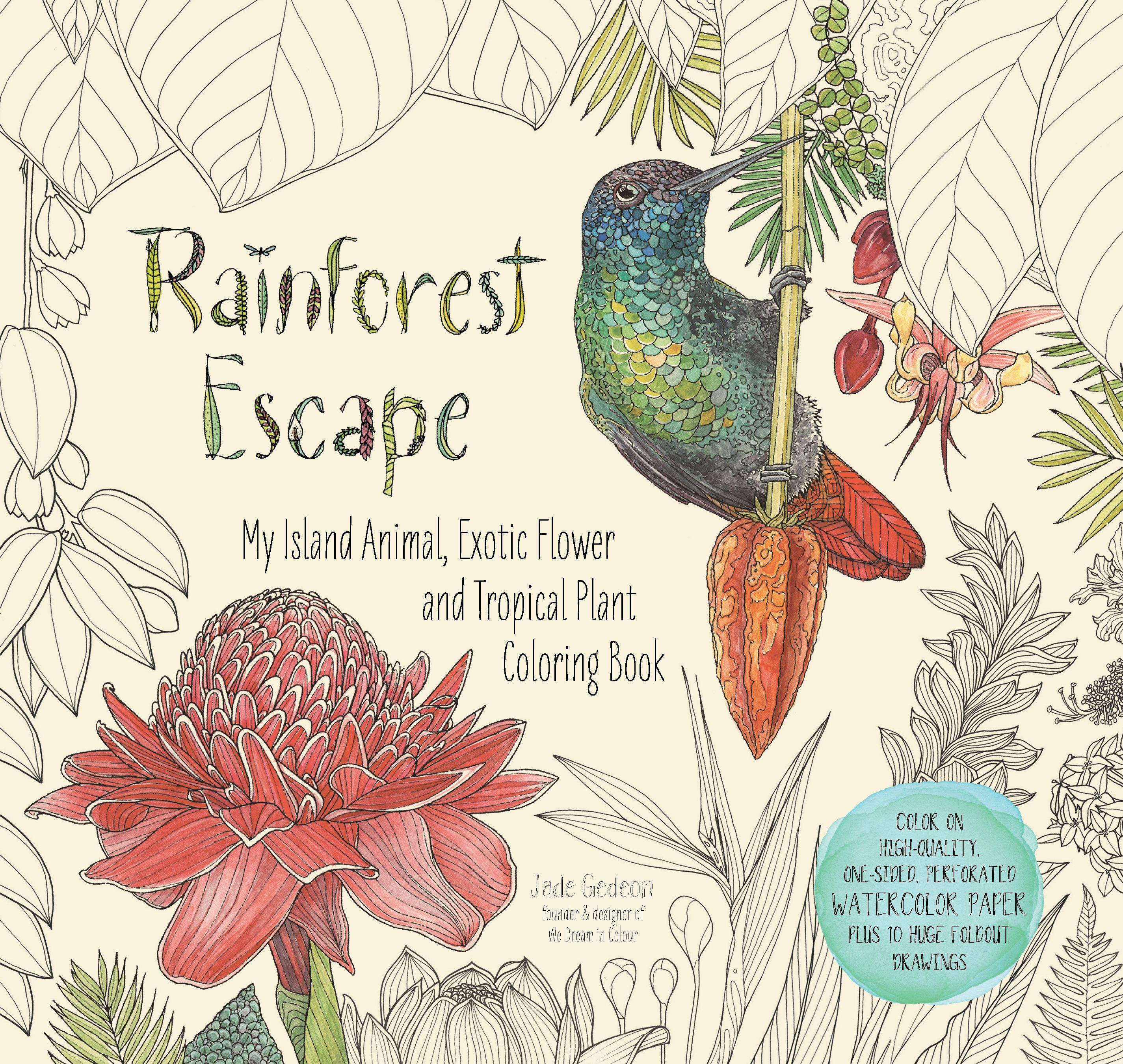 Watercolor paper coloring book - Rainforest Escape Adult Coloring Book Printed On High Quality Thick Watercolor Paper That Highlights The