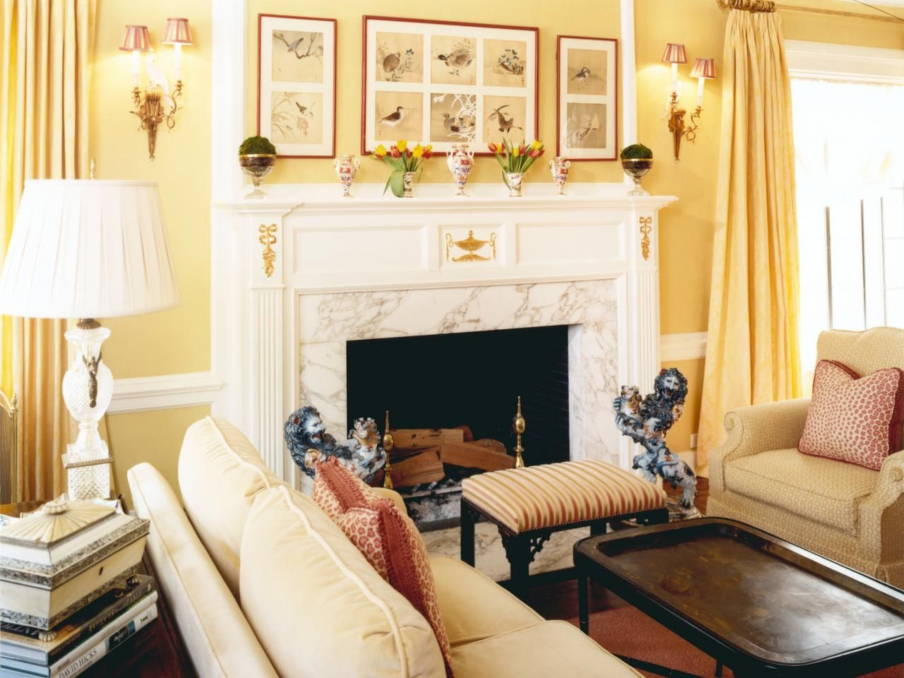Traditional Yellow Living Room With Marble Fireplace  Hgtv living