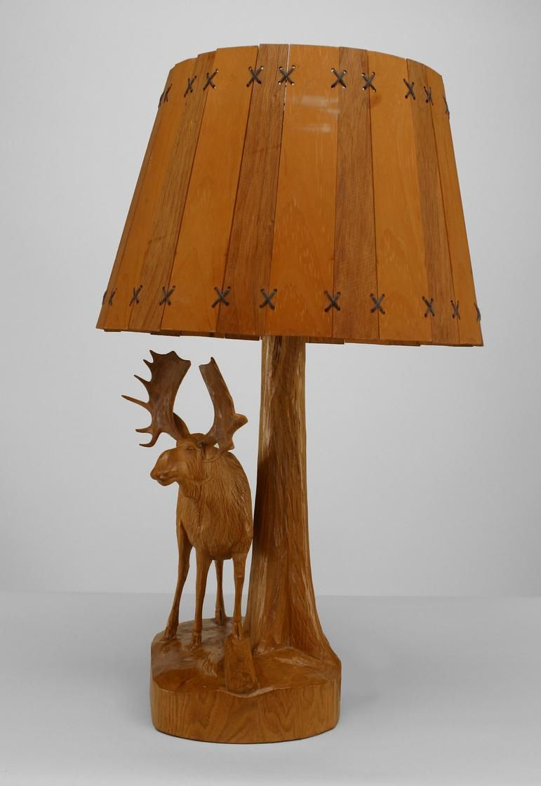 Antique Rustic Ardirondack (Canadian/Quebec) Carved Oak Table Lamp With A  Moose Figure Standing By A Tree With A Slat Wood Shade (signed: ANDRE DUBE)