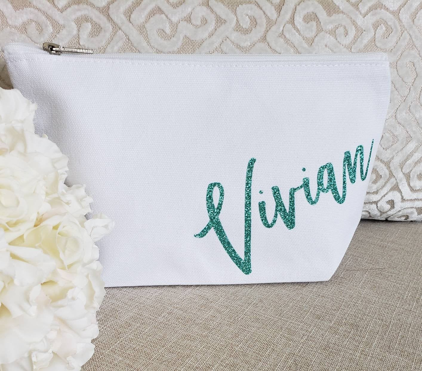 Name Makeup Bag Custom Cosmetic Shower Favor Bridal