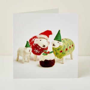 Santa And His Helpers Greeting Card - christmas cards