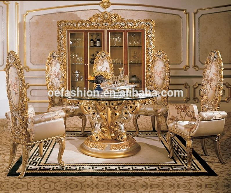 Oe Fashion Royal Luxury Round Wooden Dining Table With Glass Top