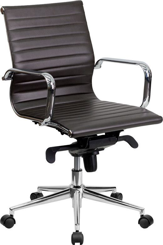 Brown Patent Leather Office Desk Chair Hi Back Armchair Swivel Adjustable Height