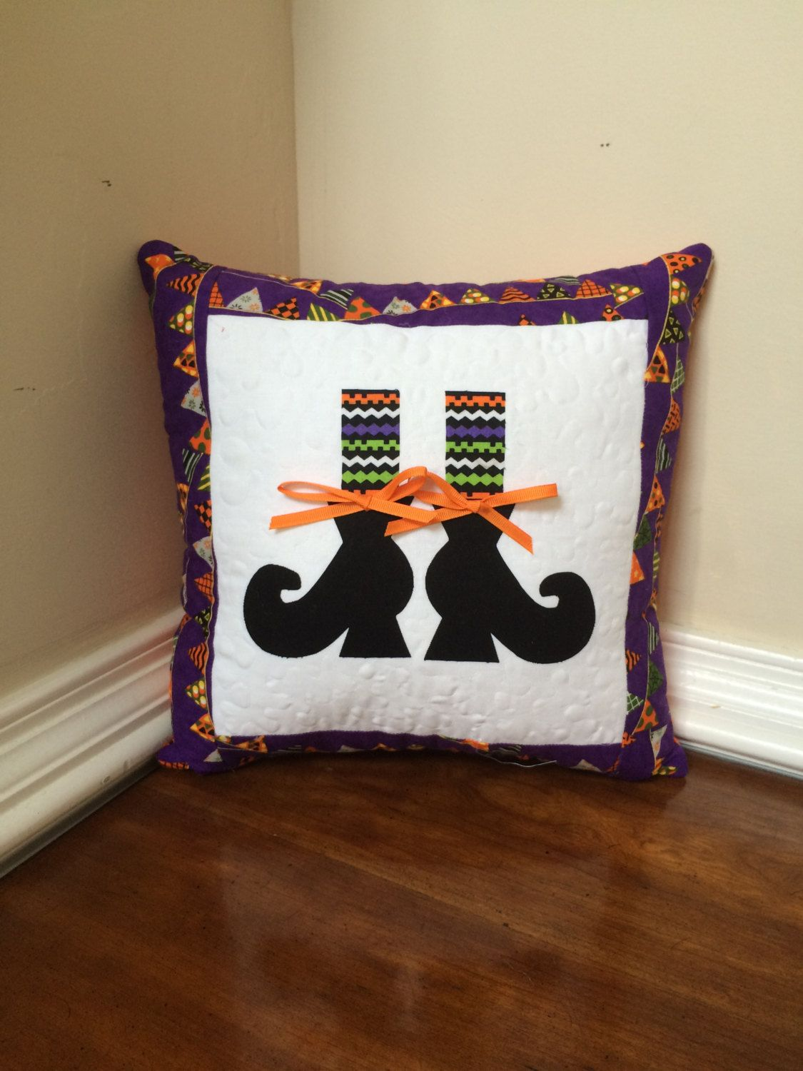 Quilted Halloween pillow, Halloween pillow, Witches feet pillow by TheQuiltedPillow on Etsy
