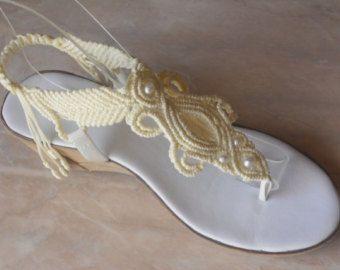 0d3fd68c4 Zapatos de Boda de Mujer Macrame y Sandalias de Cuero