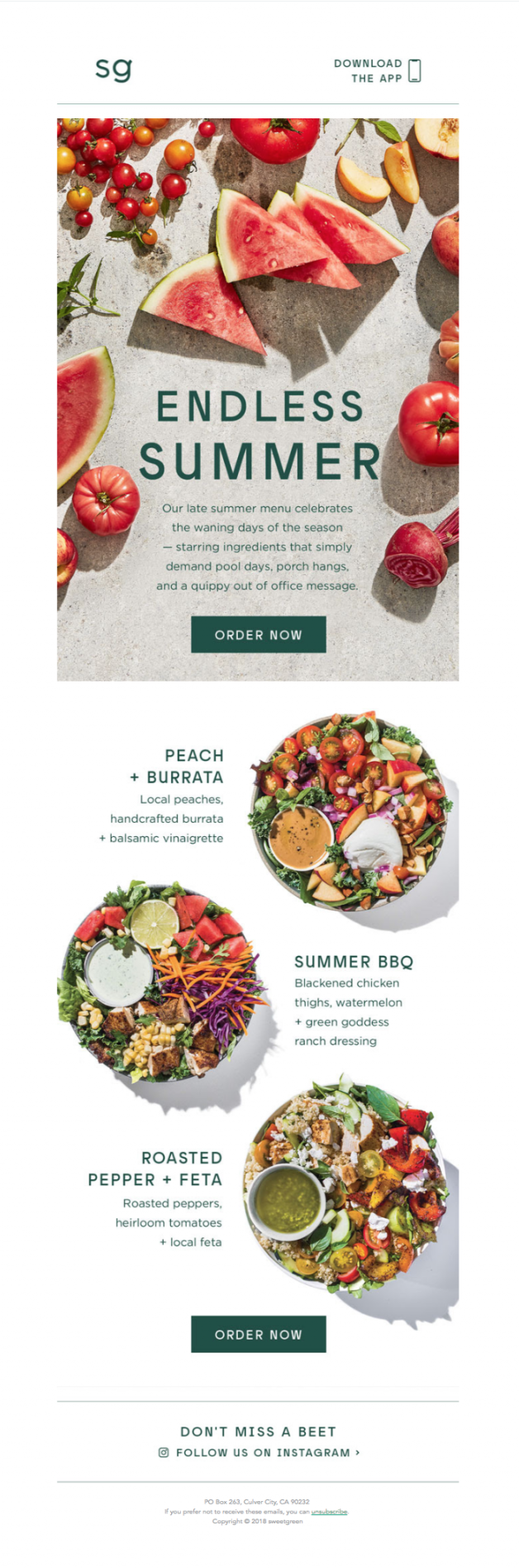 Sweetgreen Email Food Email Marketing Layout Bbc Good Food Recipes Email Newsletter Design [ 1896 x 628 Pixel ]