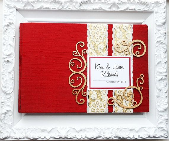 Red and Gold Wedding Guest Book with Swirl Embellishments (made to order) b8dd261718ea