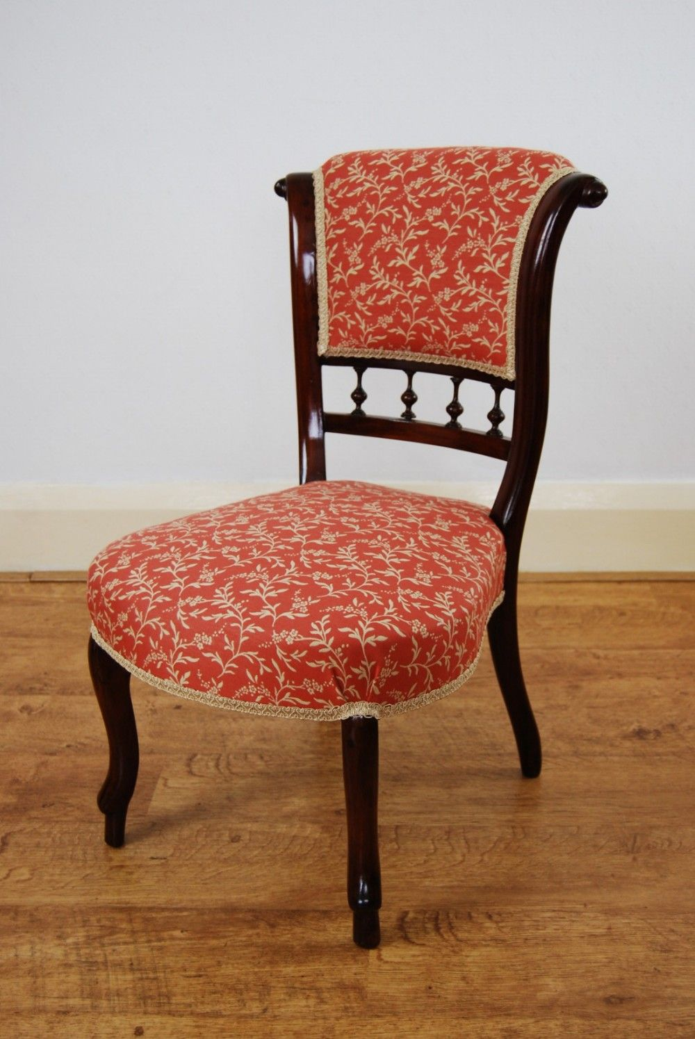 Lovely Victorian Occasional Chair Of Small Proportions, In Linwood Fabric   Sold  By The Sitting Place