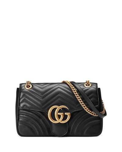 L0T4F Gucci GG Marmont 2.0 Medium Quilted Shoulder Bag, Black   KN ...