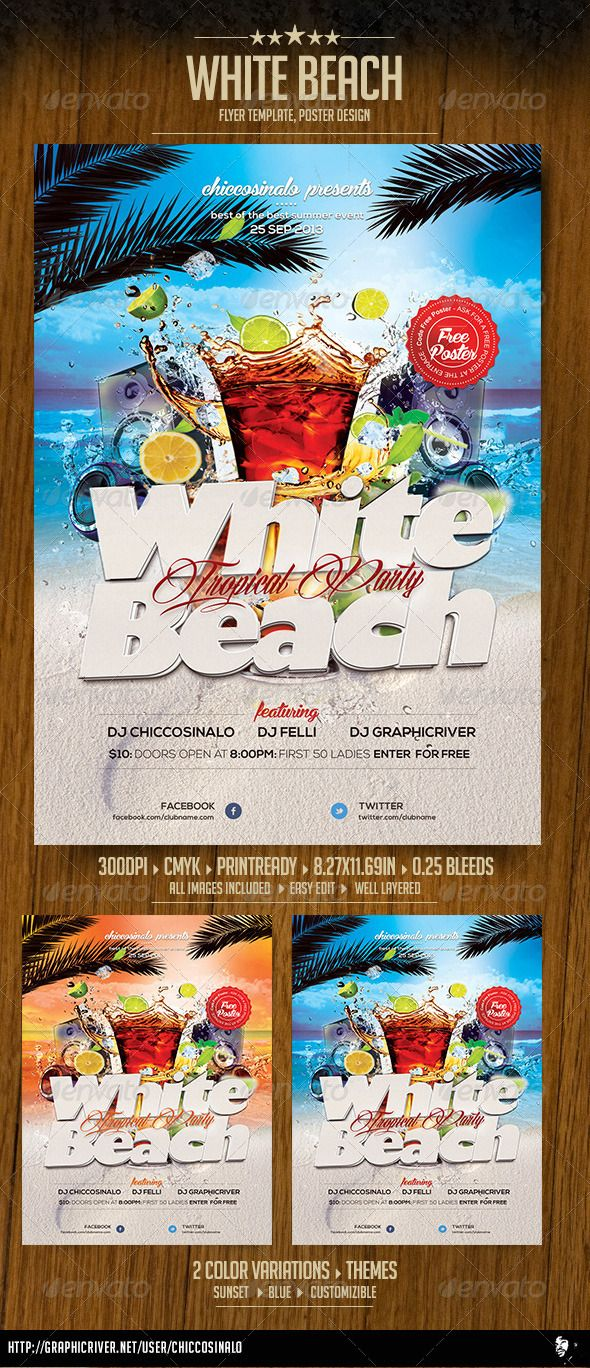 white beach flyer template fonts flyer template and cocktails white beach flyer template