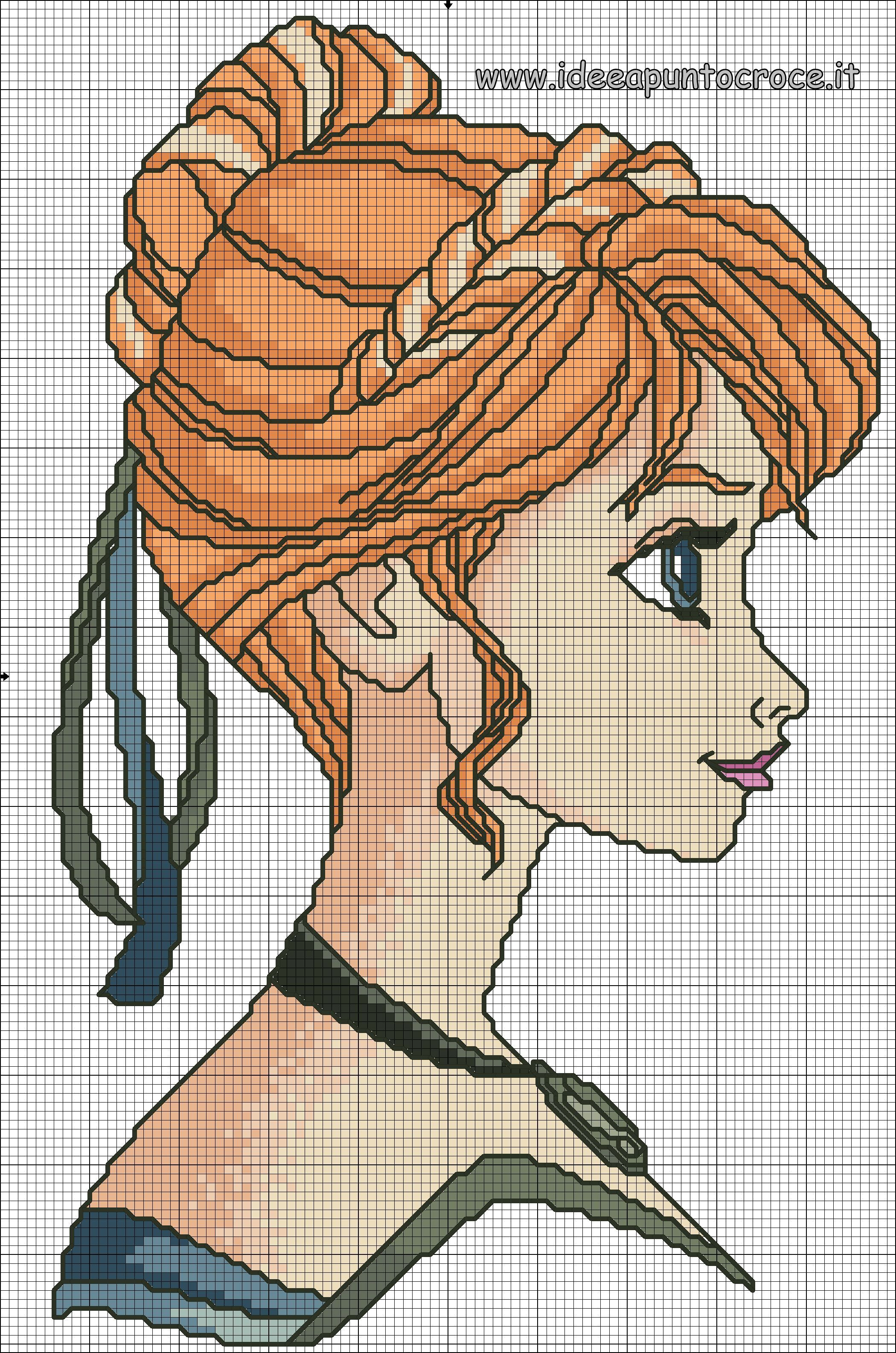 SCHEMA PUNTO CROCE ANNA FROZEN | Cross-stitch Holidays | Pinterest ...