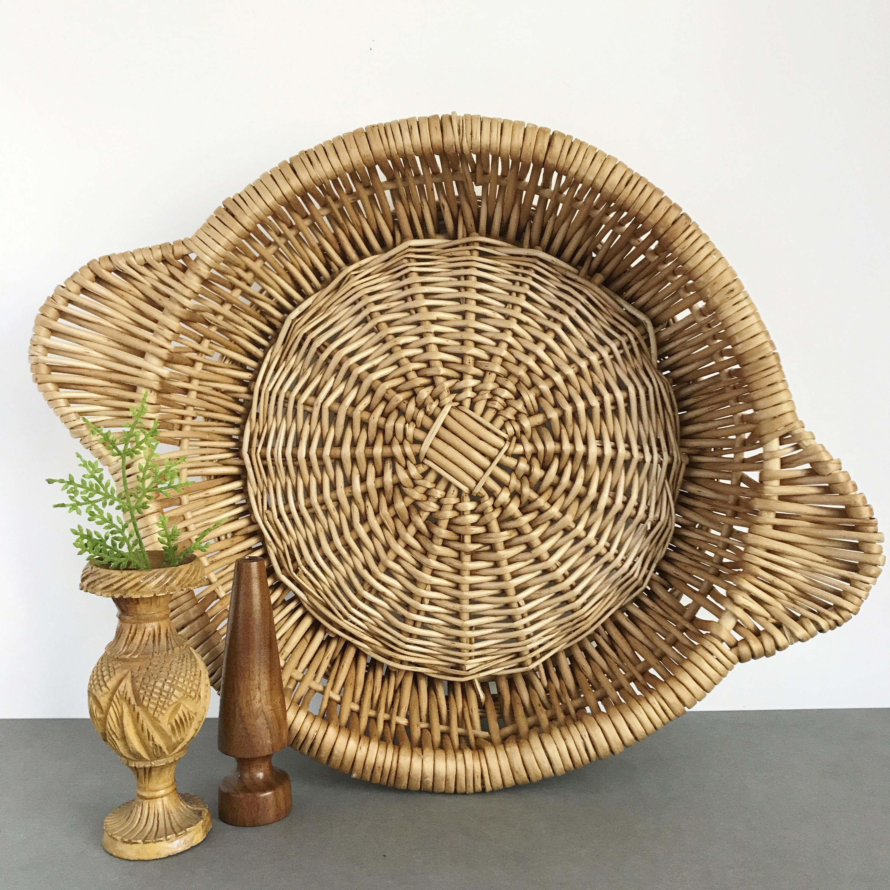 Vintage woven rattan wicker round basket wall hanging basket vintage woven rattan wicker round basket wall hanging basket basket with handles shallow amipublicfo Choice Image