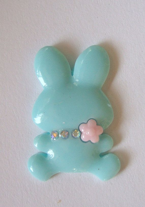Rabbit cabochon Easter embellishent by FlauntingCharms on Etsy, $0.68