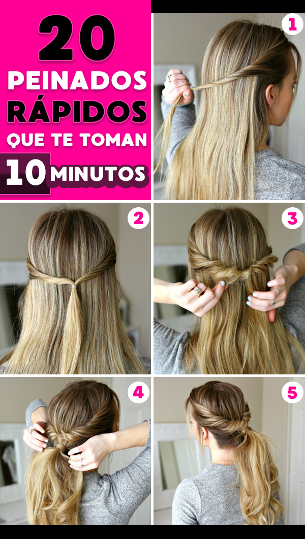 Peinados rapidos cabello largo