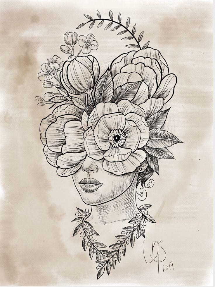 Cabeca De Flores Danilosantosarttattoo Arte Del Bosquejo Produccion Artistica Dibujar Arte