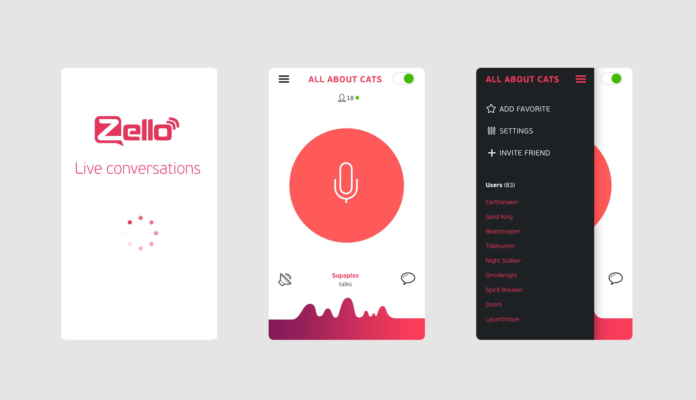 Zello app / Vladimir Vorobyev Mobile app inspiration