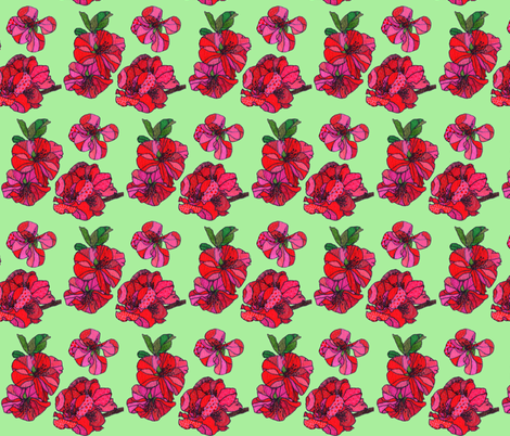 red cherry blossoms in green fabric by aprilmariemai on Spoonflower - custom fabric
