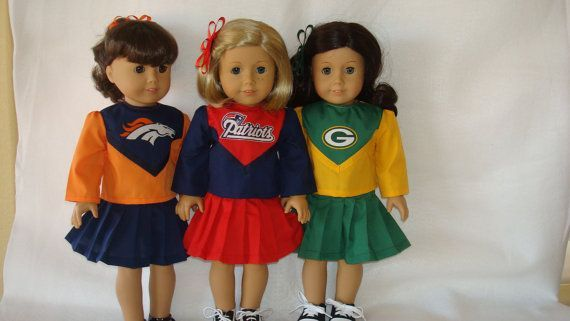 American Girl Doll Clothes/Patriots or Packers or Broncos/Cheerleader outfit fits 18 inch dolls such as American Girl/READY TO SHIP #18inchcheerleaderclothes American Girl Doll Clothes/Patriots or Packers or Broncos/Cheerleader outfit fits 18 inch dolls such as American Girl/READY TO SHIP #18inchcheerleaderclothes