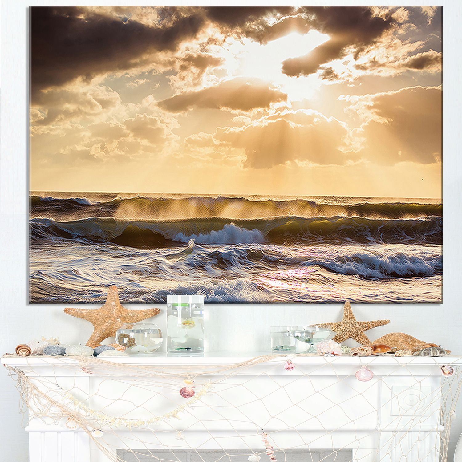 Sunrise and Roaring Sea Waves - Beach Wall Art | Products ...