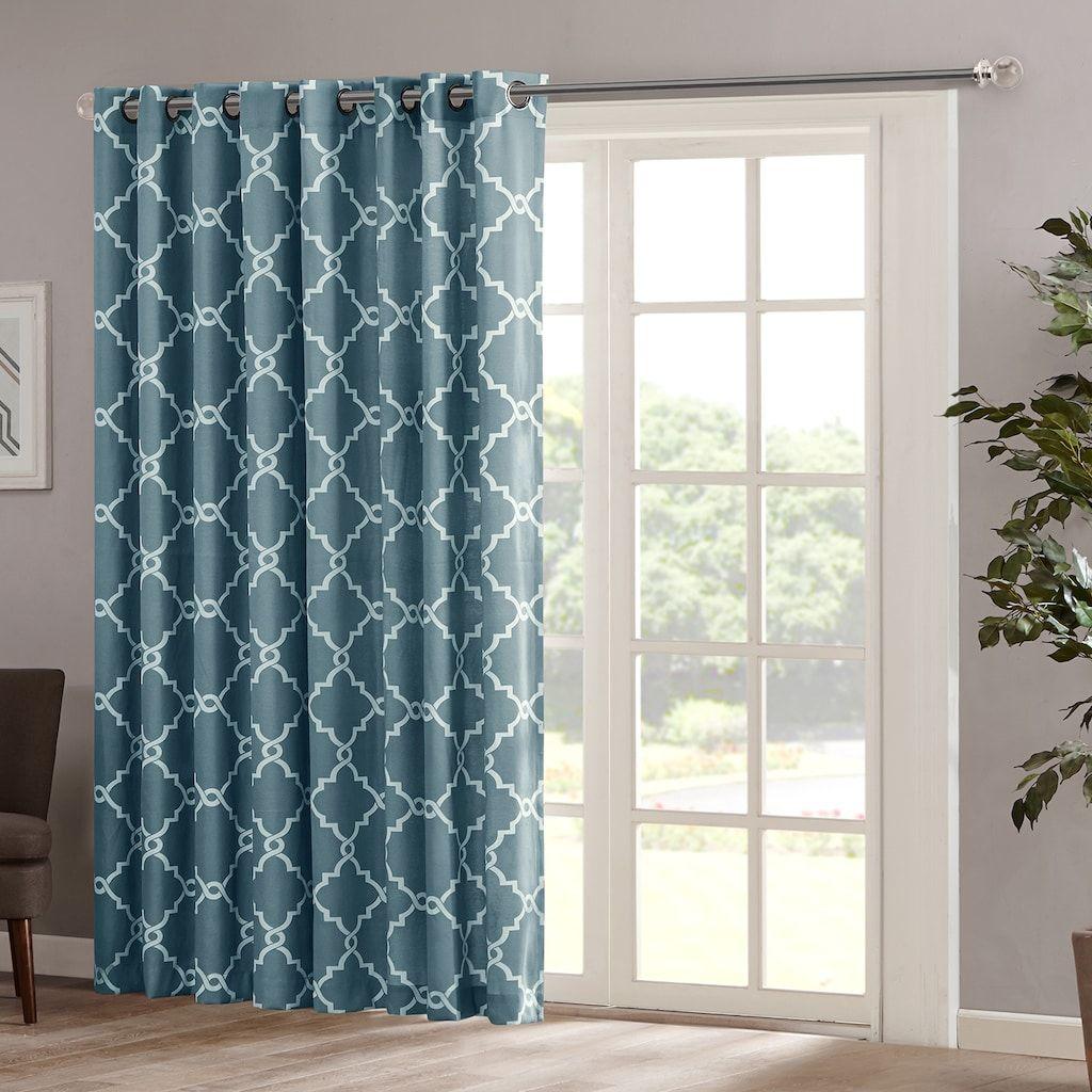 Madison Park Westmont Fretwork Print Patio Window Curtain, Blue