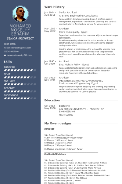 Senior Architect Пример резюме Architect Resume Sample
