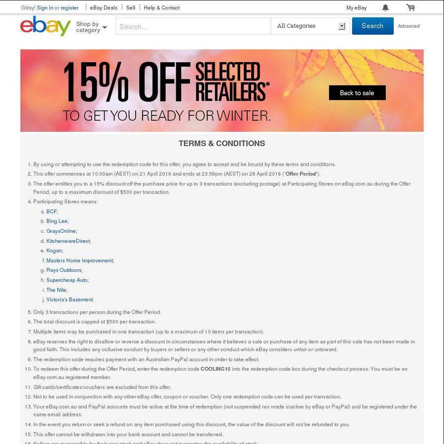 eBay 15% off Selected Stores (Bing Lee, Kogan, Masters, SCA, BCF + More)