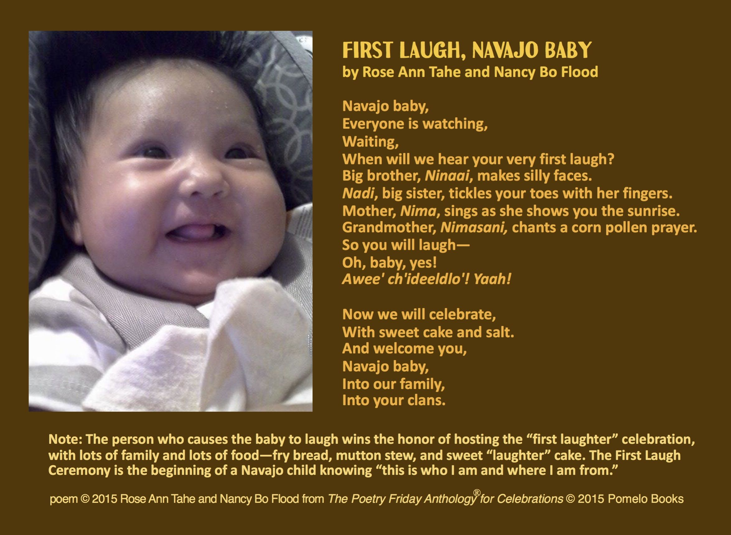 Share First Laugh Navajo Baby By Rose Ann Tahe And Nancy Bo Flood From The Poetry Friday Anthology For Celebrations Edited By Sy Laugh Rose Ann Big Brother