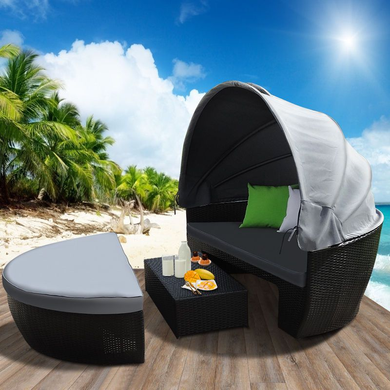 New Wicker Outdoor Furniture Day Bed Sun Lounge Setting Round Black Rattan  Set $539