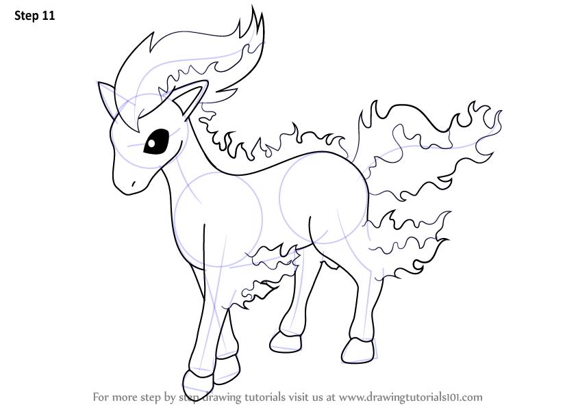 How to Draw Ponyta from Pokemon - DrawingTutorials101.com