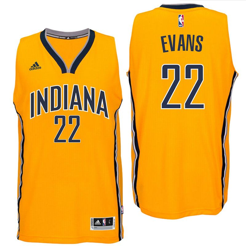 Indiana Pacers  22 Jeremy Evans 2016 Alternate Gold New Swingman Jersey 8673c686b
