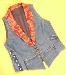 Turn a favourite old pair of jeans into an up-to-date waistcoat with a little bit of pizzazz. Not only is it a case of crafty recycling, it's a fashion garment for this season too!