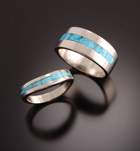 Navajo White Gold And Turquoise Inlay Wedding Band Set