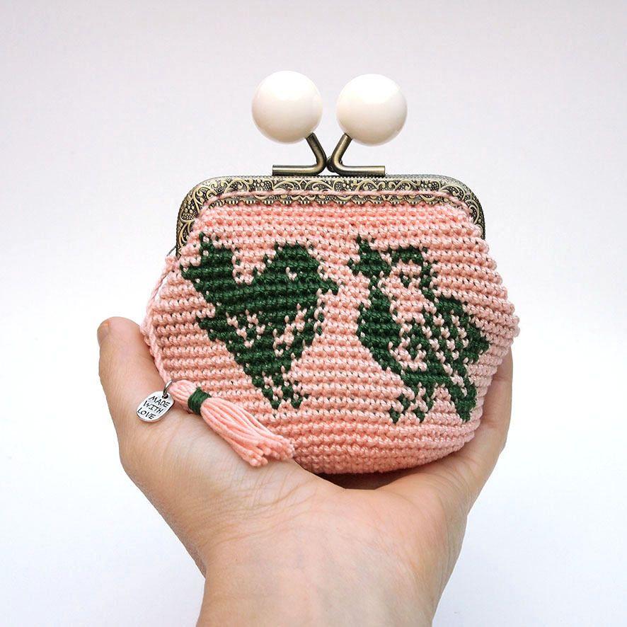 monedero de ganchillo, monedero de pájaros, monedero tapestry crochet, monedero rosa y verde, monedero de mujer, regalo mujer, regalo único de Basimaker en Etsy