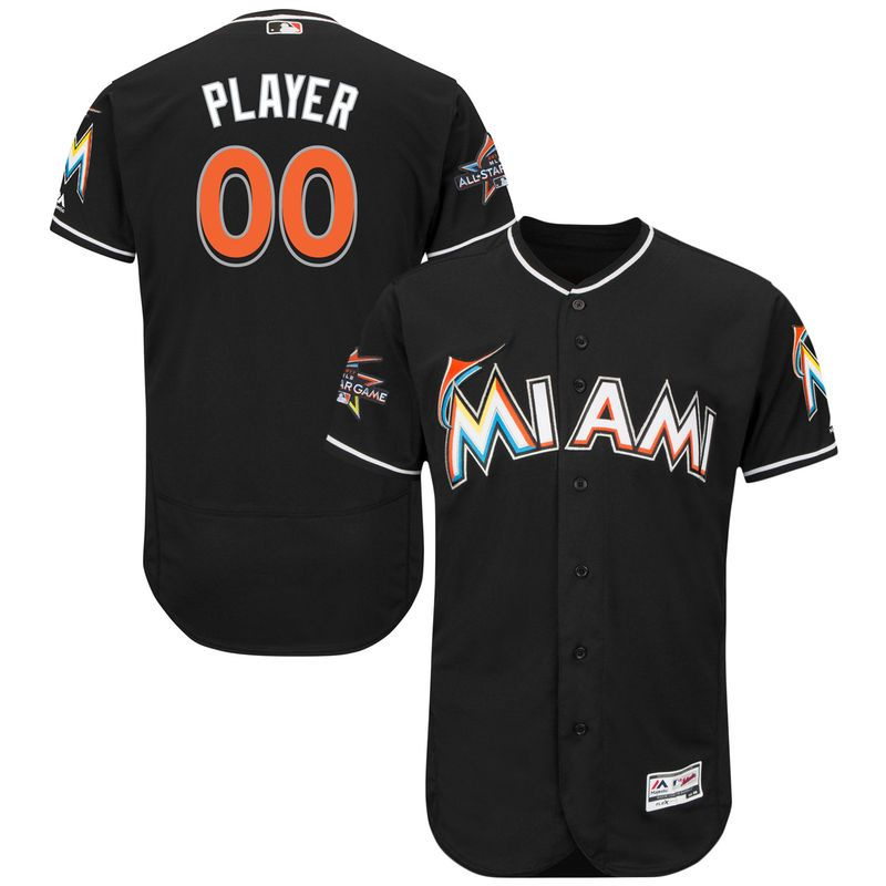 ec0f7a300d6 Miami Marlins Majestic Alternate 2017 Authentic Flexbase Custom Jersey with  All-Star Game Patch - Black