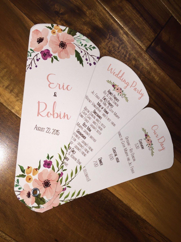 Wedding program fans petal fan programs fan programs shabby chic