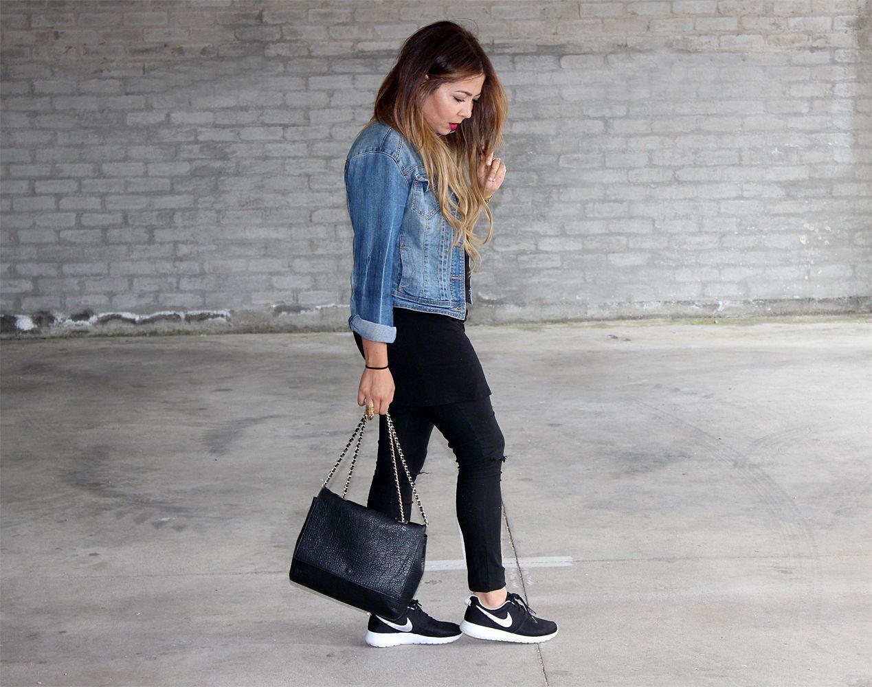 1ce80eb6b9b1 nike roshe run-Black ripped jeans Denim Jacket. Simple and Chic ...