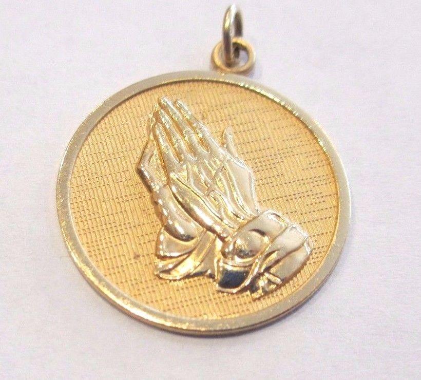 Vintage 12k gold filled praying hands serenity prayer medallion pendant aloadofball Choice Image