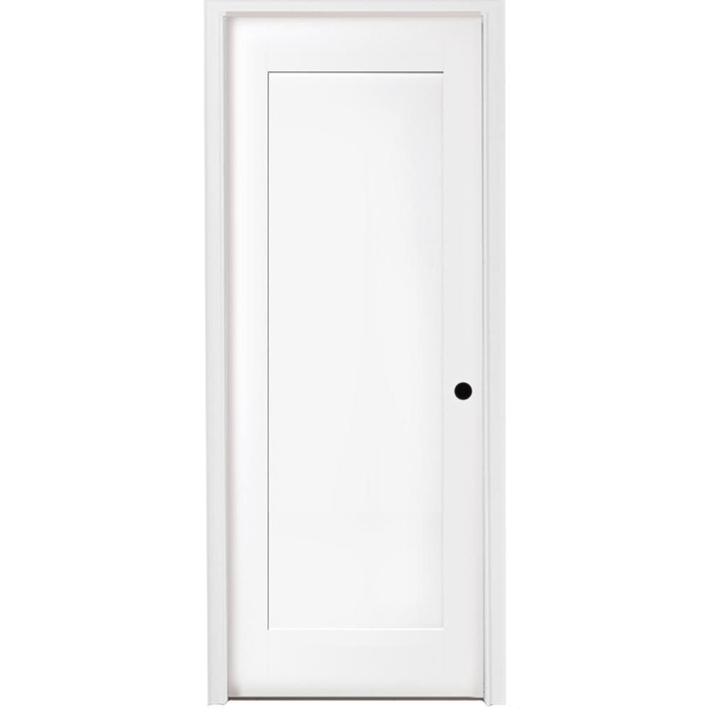 Steves Sons 30 In X 80 In 1 Panel Shaker White Primed Left Hand Solid Core Wood Single Prehung Interior Door With Nickel Hinges M64m1nnnlelhn In 2020 Prehung Interior Doors Primed Doors