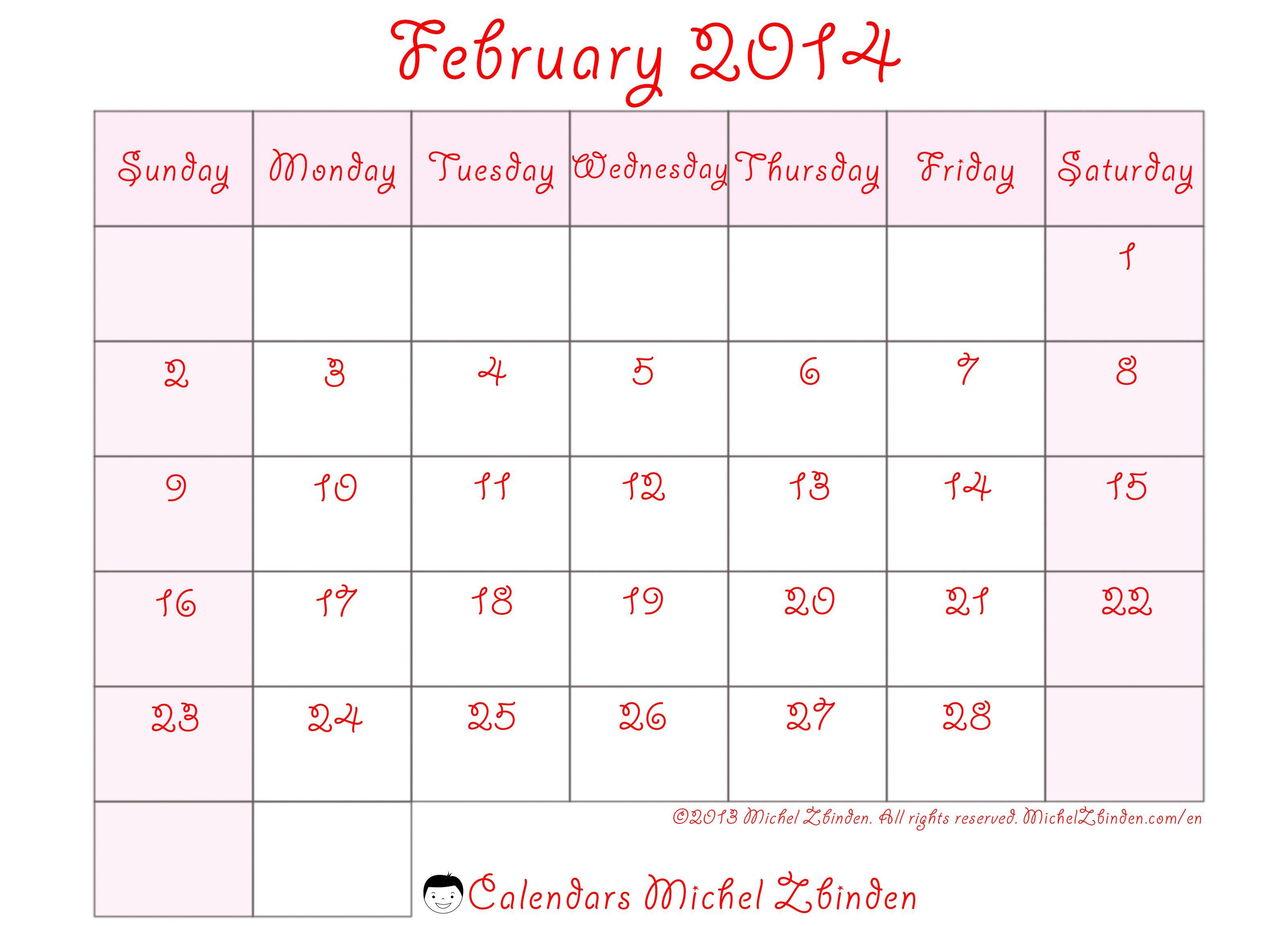 February 2014 Calendar Printable
