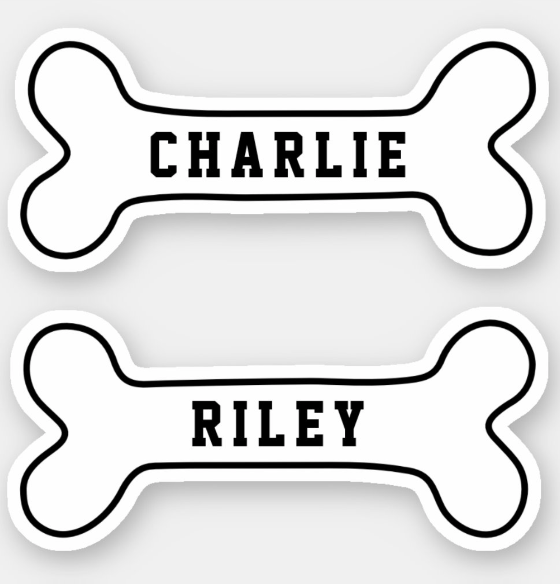 Dog Bone Personalized Name Stickers Zazzle Com Name Stickers Pet Name Tags Design Your Own Stickers