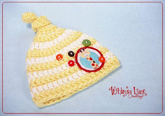 Newborn Knot On Top  Striped BeanieGiraffe by whimsylaneboutique, $26.00