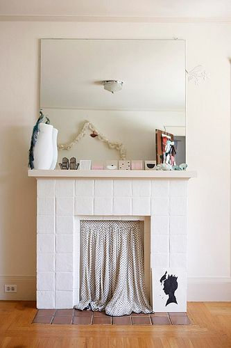 Curtain Over Unused Fireplace. Like This But With A Bright Curtain To Add A  Pop