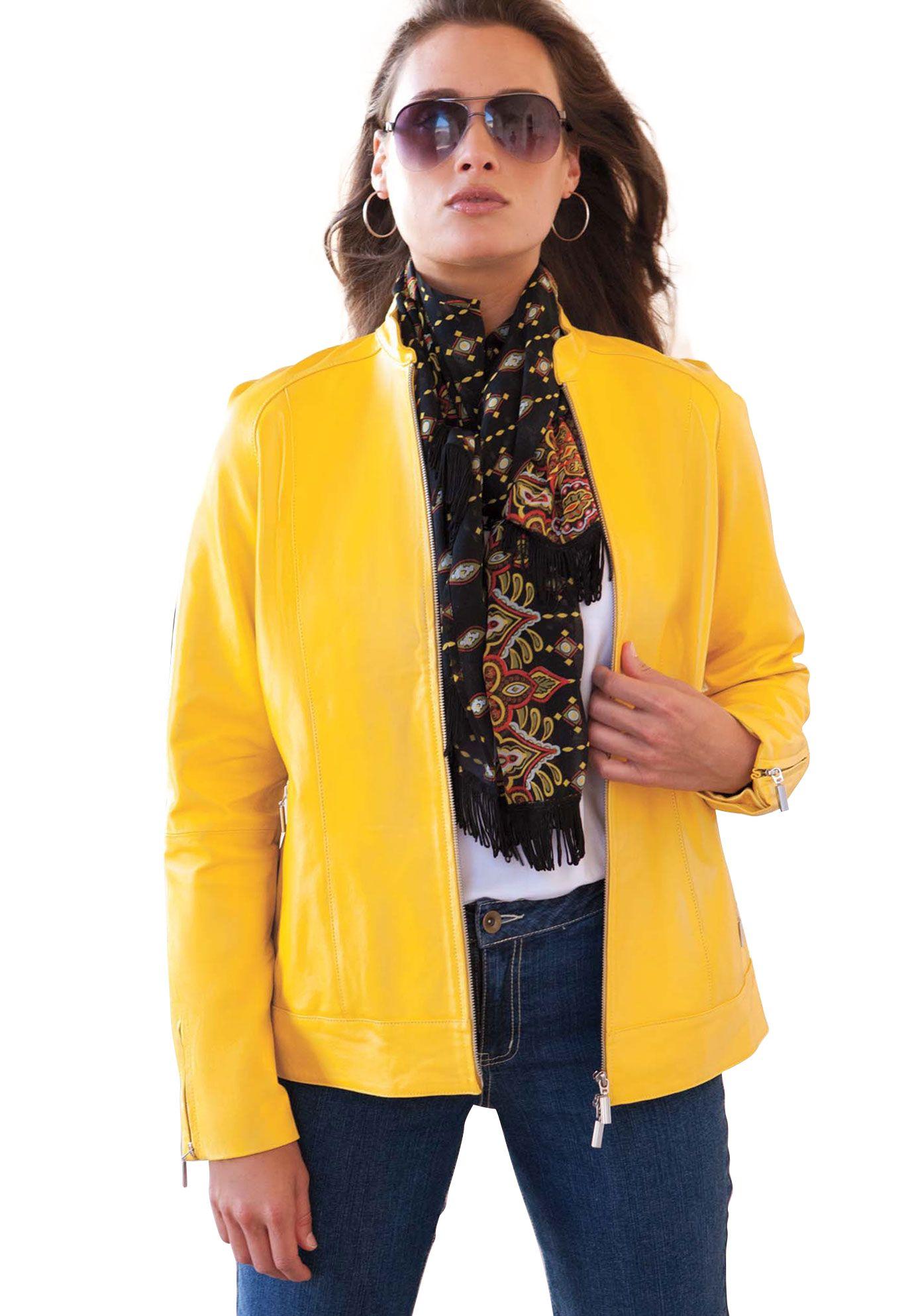 Fierce Bright Yellow Plus Size Leather Jacket Plus size