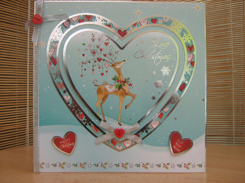 """Christmas Deer  8"""" x 8""""  Handmade Christmas Card"""