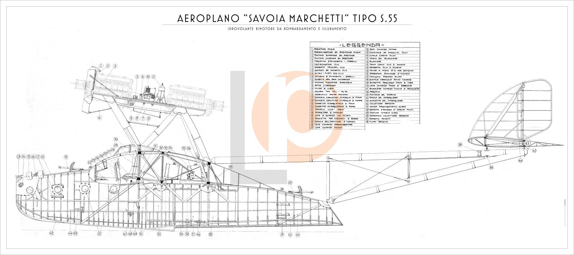 Idrovolante Savoia Marchetti S55m Cod Dw S55 126x56 Fianco Engine Diagram