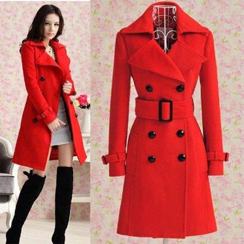 751a2499573e 2013 Women s Red Trench Slim Winter Warm Coat Long Wool Jacket Outwear with  Belt
