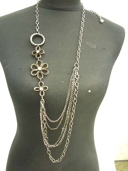long-necklaces wholesale costume jewelry necklace with black chain and daisy flower design  sc 1 st  Pinterest & long-necklaces wholesale costume jewelry necklace with black chain ...