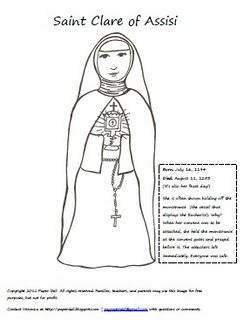 Saint Clare Of Assisi Clare Of Assisi Saint Coloring Catholic