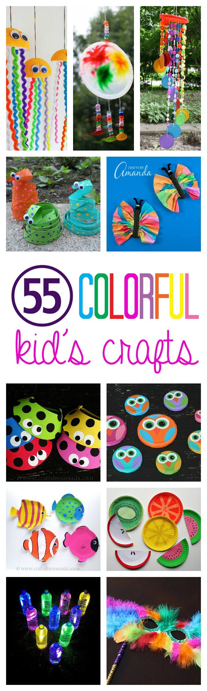 55+ Colorful Kid's Crafts: make cute monsters from recycled materials and  other supplies.