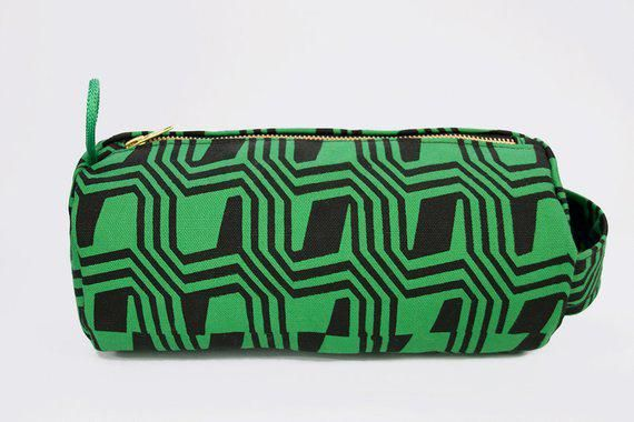 a4086d0486e7 Travel toiletry bag - Geometric Print - Hand printed - Green and Black -  screen print